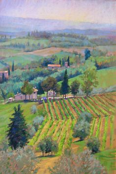 Toscana di Maria Bettina Pastel Painting of the Countryside of Italy by Jill Stefani Wagner