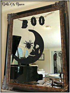 DIY Eerie, Elegant Black Pumpkin Decor - Debbee's Buzz Spooky House, Halloween House, Fall Halloween, Haunted Halloween, Halloween 2018, Skeleton Decorations, Spooky Halloween Decorations, Halloween Themes, Diy Cement Planters