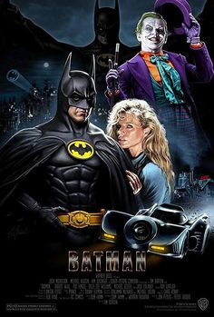 "Michael Keaton, Kim Basinger and Jack Nicholson in ""Batman"" directed by Tim Burton. Im Batman, Spiderman, Batman 1966, Heros Film, Batman Kunst, Photographie Indie, Nananana Batman, Image Film, Batman Artwork"