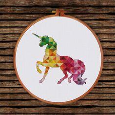 geomtretric unicorn rainbow cross stitch pattern