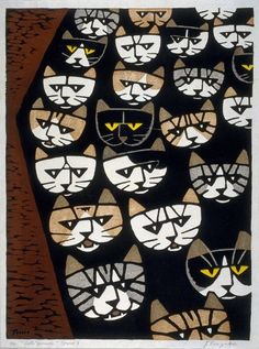 "Tomoo Inagaki (Japan, 1902-1980) - ""Cat's Parade"" (mid 20th century) - Color woodcut"