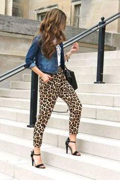 leopard pants, pairs shirt, and denim jacket Leopard Print Outfits, Leopard Print Pants, Animal Print Outfits, Leopard Fashion, Animal Print Fashion, Animal Print Clothes, Cheetah, Mode Outfits, Leopard Prints