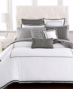 new hotel collection embroidered frame charcoal grey full queen comforter 285