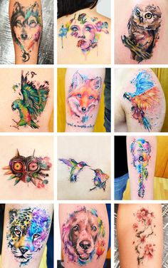 """thefadedpicture: """"""""Tattoos: Watercolor Tattoos by javiwolfink """" """" Love these so much"""