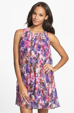 Badgley Mischka Pleat Chiffon Cover-Up Dress available at #Nordstrom