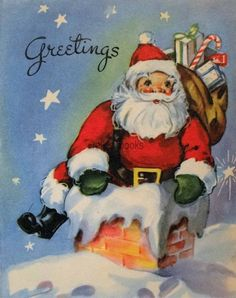 #1954 40s Santa Claus in the Chimney-Vintage Christmas Card-Greeting
