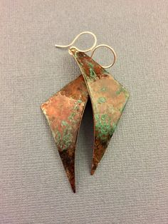262d94a37b35 Curved Copper Earrings with Patina Triangle Earrings