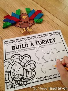 FREE Build a Turkey Pattern Block Math Center. Great for teaching number sense and geometry concepts including symmetry and spatial awareness.