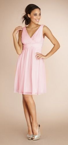 """Ships in 3 weeks!  $158.  This is """"blush"""" colored Bridesmaid dress... also available in charcoal.  Possible for an April wedding?"""