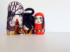 Little red riding Hoog Matrioska, five pieces nesting doll by francescagreco1 on Etsy https://www.etsy.com/listing/219274020/little-red-riding-hoog-matrioska-five