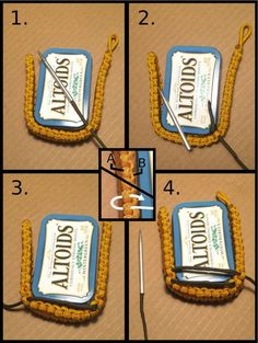 Throughout this Instructable, I will be showing you guys how to make a Altoids Tins Pouch out of paracord. For many outdoors-man or survivalists, Altoids tins are. Paracord Braids, Paracord Knots, Paracord Bracelets, Survival Bracelets, Hemp Bracelets, Crochet Double, Altoids Tins, Paracord Projects, Paracord Ideas