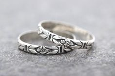 Sterling Silver Stacking Ring Thin Silver Ring Art Nouveau Flower Ring Band Silver Flower Ring Dainty Silver Ring Silver Stacking Rings by DeerGirlDesigns Raw Gemstone Jewelry, Rock Jewelry, Jewlery, Anklet Jewelry, Bridal Ring Sets, Bridal Jewelry Sets, Bridal Bangles, Silver Stacking Rings, Silver Rings