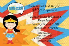Personalized Wonder Woman Birthday Party Invitation - Custom Printable File - Digital Super Hero Birthday Party Invitation on Etsy, $5.99