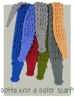Basic knitting can make a scarf. How about a knitted alligator scarf? Same basic stitches. Knitting Kits, Knitting For Kids, Loom Knitting, Free Knitting, Baby Knitting, Yarn Projects, Knitting Projects, Crochet Projects, Knit Or Crochet