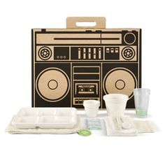Urban Picnic: Rock out this summer's concert circuit with an old-school boom box picnic pack equipped with fully compostable tableware for the eco-friendliest picnic on the block. $25