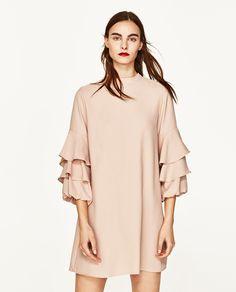 FRILLED-SLEEVE DRESS