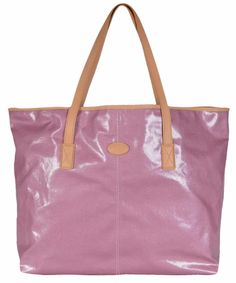 New Tod's Women's Toujours Shopping Media Pink Coated Canvas Purse Tote #Tods #TotesShoppers