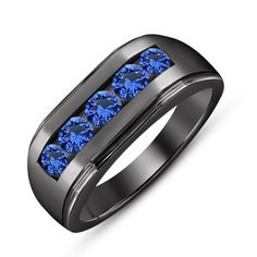PLATINUM BLUE SAPPHIRE 5.60 TCW OVER STERLING SILVER RING SIZE 6 7 8 9