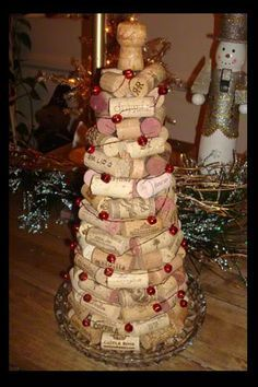 Wine Cork Christmas Ornaments Homemade | Wine Cork Christmas Tree with Beaded Twisted Wire Garland Tutorial ...