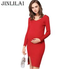 85e41b714485a JINLILAI 2018 Pregnant Dress Maternity Clothes Autumn And Winter knitting Cotton  Long Sleeves Sexy Party Pregnant Women Clothes-in Dresses from Mother ...