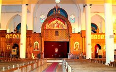 (Egypte) Interior of Saint Michael's Coptic Orthodox Cathedral in Aswan Church Interior, Church Architecture, Egypt Travel, Group Tours, St Michael, Travel Agency, The Places Youll Go, Barcelona Cathedral, Taj Mahal
