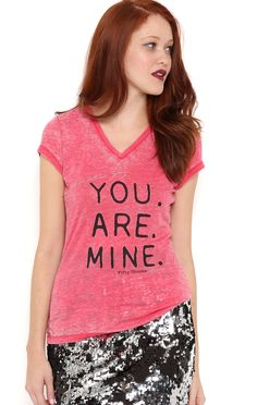 Deb Shops Short Sleeve V Neck Burnout Tee with You Are Mine Screen $13.65