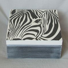 Wooden decoupaged box with zebra pattern,black and white,dark grey,