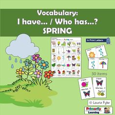 This #spring #vocabulary #game provides opportunities for #prek  (#preschool), #Kindergarten, and #gradeone children to practice identifying and naming items that can be found, and activities that people do, in the spring season.  Practice #sorting the cards.  What was your sorting rule? (Available in Print Letters or Sassoon Font.)