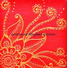 "Small henna abstract #4, 2013. 6"" x 6"" Textured henna style acrylics painting on canvas. © Bala Thiagarajan, 2013. www.artbybala.com"