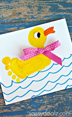 Cute Footprint Duck Craft for Kids - A rubber ducky floating on water! Cute Footprint Duck Craft for Kids - A rubber ducky floating on water! Duck Crafts, Animal Crafts, Baby Crafts, Toddler Crafts, Crafts To Do, Easter Crafts, Toddler Art, Daycare Crafts, Preschool Crafts