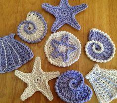 As promised here are the next two patterns for the sea shell garland. last week I posted the patterns for a star fish and a conch shell. Thi...