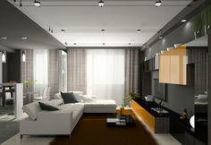 éclairage LED en spots sur rail et spots encastrés dans le salon moderne