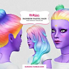 RAINBOW PASTEL HAIR at ELRsims via Sims 4 Updates