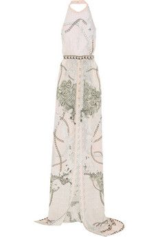 Balmain Printed silk halterneck gown   THE OUTNET