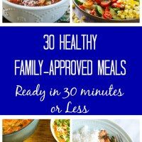 http://amindfullmom.com/a-month-of-30-minute-meals/