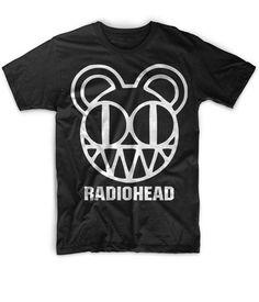 Cool+Mens+Tshirt+Radiohead+Bear+Rock+Band+Black+Funny+Tshirt