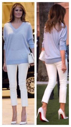 First Lady Melania Trump - Hints for Women Sunday Outfits, Mom Outfits, Classy Outfits, Casual Outfits, Fashion Outfits, Womens Fashion, Trump Melania, First Lady Melania Trump, Casual Chic