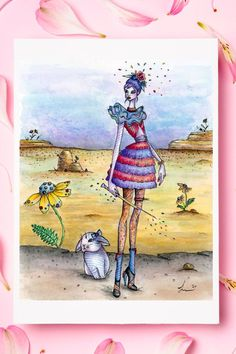 """This is a fine art print of my original watercolor painting titled """"Ready to Act"""", part of the Circus Circus series. The series is about a girl with magical power escaping the circus with her partner bunny, and the adventures they encounter along the way. Watercolor Print, Watercolor Paintings, Bunny Art, Thing 1, Figurative Art, Fine Art Paper, Paper Texture, Whimsical, Circus Circus"""