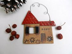 Ceramic House ornament pottery ornament house by potteryhearts