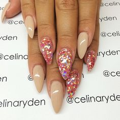 The perfect amount detail:) Stiletto Nails, Nude Nails, Glam Nails, Coral Nails, Hot Nails, Fancy Nails, Acrylic Nails, Hair And Nails, Fabulous Nails