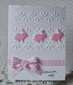 handmade baby/Easter card from Nellies Nest ... pink and white ... gingham ribbon wrap ... embossing folder texture ... die cut felt bunnies ... sweet!
