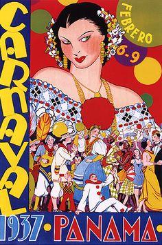 1937 Vintage Panama Carnival Carnaval Repro Poster | eBay