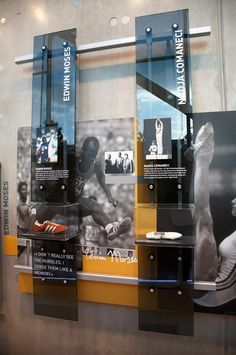 SOMN history installation in the entry way or in the elevator bank Display Design, Booth Design, Store Design, Wall Art Designs, Wall Design, Exhibition Display, Museum Exhibition, Environmental Design, Design Museum