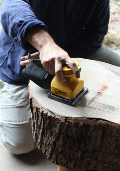 17 Apart: How To: DIY Stump Table. How to preserve the wood.  Our next project for our fire pit.