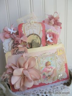 shabby chic victorian stitched pocket full of tags and envelopes handmade gift decoration treat bag