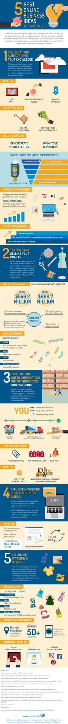 5 Best Online Business Ideas To Start In 2017 #Infographic #Business
