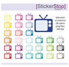 TV with Antenna Clipart 28 colors PNG Digital by StickerStop Diy Tv Antenna, Blog Banner, Budget Planer, Clips, Make And Sell, High Quality Images, Digital Image, Planner Stickers, Custom Design