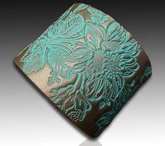 Japanese brocade polymer clay cuff bracelet by adrianaallenllc, $15.00