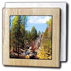 View of River in Pine Valley, Utah Flowing Through Trees and of Green and Yellow on Blue Sky Tile Napkin Holder
