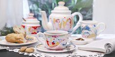 "Colección de Té Ilustrada   Vajilla de cerámica de diseño ""Amor Astral"" por Ana Sanfelippo    Illustrated Tea Collection   Ceramic designed tableware ""Astral Love"" by Ana Sanfelippo"